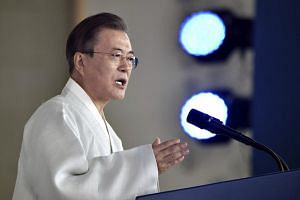 South Korean President Moon-Jae In delivers a speech during a ceremony to mark the 74th anniversary of Korea's liberation from Japanese colonial rule, at the Independence Hall of Korea in Cheonan on Aug 15, 2019.