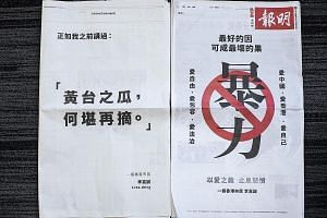 Advertisements placed by Hong Kong's richest man, billionaire Li Ka Shing, in the South China Morning Post (left) and Mingpao newspapers yesterday calling for a stop to the strife that has gripped the city. Unlike some of his peers, though, he stoppe