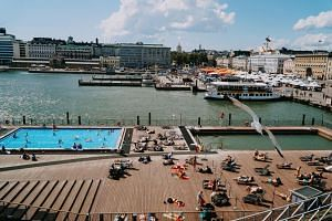 At the Allas Sea Pool, a swimming complex located next to Helsinki's South Harbour in the heart of the city, visitors can take a dip in the saltwater pool, with brisk temperatures even in summer, or pick from one of two heated pools.