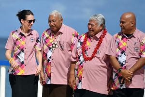 Fiji's Prime Minister Frank Bainimarama (second from left) standing with (from left) New Zealand's Prime Minister Jacinda Ardern, Samoa's Prime Minister Tuilaepa Aiono Sailele Malielegaoi and Federated States of Micronesia's President David W. Panuel