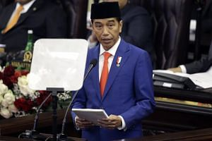 Indonesia's President Joko Widodo delivers his state of the nation address ahead of the country's Independence Day at the parliament building in Jakarta, Indonesia, on Aug 16, 2019.