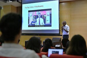 Law and Home Affairs Minister K. Shanmugam at a discussion on race organised by the National University of Singapore's Department of Communications and New Media yesterday. He noted that it was important to have frank discussions about race and for p