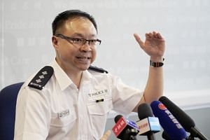 Police Chief Inspector Sean Lin speaking to the media on Aug 21 on how he persuaded protesters who surrounded the Ma On Shan Police Station on Aug 5 to leave peacefully.