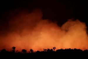 Smoke billows during a fire in an area of the Amazon rainforest near Humaita in Brazil's Amazonas state, on Aug 17.