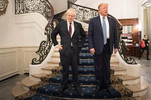 Britain's Prime Minister Boris Johnson and US President Donald Trump prior to their bilateral talks during the G-7 summit in Biarritz, France, on Aug 25, 2019.