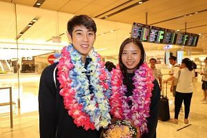 Loh Kean Yew, 22, and Yeo Jia Min, 20, back in Singapore after their fine run at the World Championships in Basel, Switzerland. Yeo even had an upset win over world No. 1 Akane Yamaguchi en route to the last eight. PHOTO: LIANHE ZAOBAO