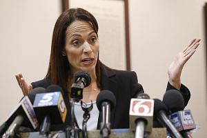 Lawyer Sabrina Strong, for Johnson & Johnson and its subsidiaries, told the media after the judgment on Monday that her clients did not cause the opioid abuse crisis. PHOTO: ASSOCIATED PRESS