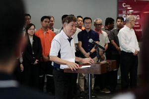 Minister for Transport Khaw Boon Wan speaking at an event celebrating improvements in rail reliability at SBS Transit's Sengkang Depot on Aug 30, 2019.