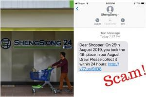 On its website, Sheng Siong advised customers not to proceed with the instructions in the SMS, as the link directed them to a phishing site.