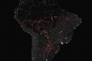 A Nasa satellite image from mid-August 2019 shows a map of fires burning in South America.