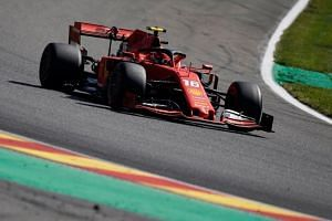 Ferrari's Charles Leclerc drives during the third practice session at the Spa-Francorchamps circuit, on Aug 31, 2019.