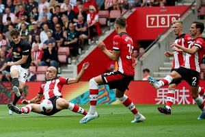 Manchester United's Daniel James shooting against Southampton in their Premier League match at St Mary's Stadium on Aug 31, 2019.