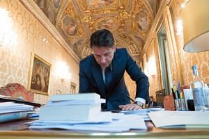 Premier-designate Giuseppe Conte seen during a break in the round of consultations for the formation of the new government, in Rome on Aug 31, 2019.
