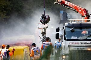 The car wreck of Juan Manuel Correa being removed during the Formula 2 race at the Spa-Francorchamps race track in Stavelot, Belgium, on Aug 31, 2019.