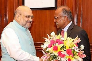 Singapore Minister for Home Affairs and Law K. Shanmugam (right) met Indian Home Minister Amit Shah for talks on bilateral and regional issues in New Delhi last Saturday. PHOTO: AMIT SHAH/TWITTER