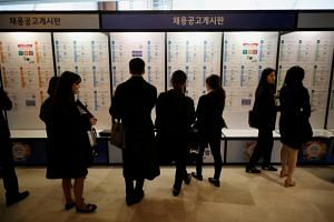A photo taken on Nov 7, 2018, shows job seekers at the Japan Job Fair in Seoul.