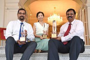 Innova Primary School's head of science department Mohamed Azhar Mohamed Noor, Nanyang Polytechnic senior analytics lecturer Koh Noi Sian and Bukit Batok Secondary School science teacher Syam Lal Sadanandan. They are among the seven winners of the