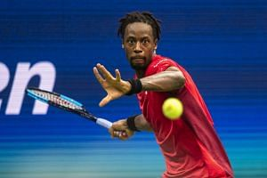 Gael Monfils eyes a return during his quarterfinal match with Matteo Berrettini at the US Open in New York, on Sept 4, 2019.