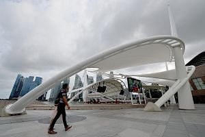 The roofing structure of the outdoor theatre at the Esplanade is painted with a 3M product which is dirt-resistant and more durable than regular paint.