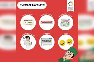 """The Facebook post by the Media Literacy Council highlighted six types of """"fake news"""": false context, imposter content, manipulated content, misleading content, clickbait, and satire."""