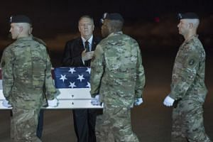 US Secretary of State Mike Pompeo participates in the Dignified Return for Sergeant First Class Elis Barreto Ortiz, who was killed in action in Kabul on Sept 5, at Dover Air Force Base, Delaware, on Sept 7, 2019.