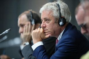 In a picture taken on Sept 6, Speaker of the British House of Commons John Bercow attends a meeting during the G-7 parliaments summit in Brest, France.