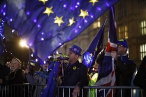 Anti-Brexit protesters with signs and EU flags lit up with fairy lights demonstrate outside the Houses of Parliament in London on Sept 9, 2019 as MPs debate.