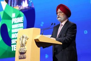 Mr Hardeep Singh Puri, India's Minister of State for Housing, Urban Affairs, Civil Aviation and Commerce and Industry, speaking at the India Singapore Business Summit on Sept 10, 2019.