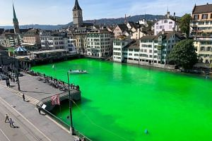 The Limmat river was dyed green during a demonstration by Extinction Rebellion Zurich in the center of the city on Sept 10, 2019.