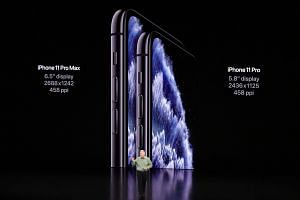 Apple marketing chief Phil Schiller unveiling the Apple iPhone 11 Pro and Pro Max during a media event at the Steve Jobs Theatre on the Apple Park Campus, Cupertino.