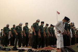 Thousands of people in Pekanbaru, capital of Riau province in Sumatra, Indonesia, held Islamic prayers for rain on Sept 11, 2019.