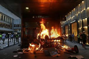 Protesters had set fire to an entrance at Central MTR station on Sept 8, 2019.