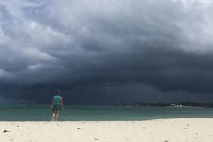 A storm approaches in Nassau, Bahamas, on Sept 12, 2019. According to the National Hurricane Centre, the storm is set to drop as much as 15.2cm of rain on some parts of the Bahamas.