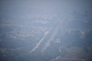 A photo taken in Jurong shows haze over the area at around 5pm on Sept 14, 2019.