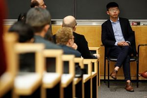 Hong Kong's pro-democracy activist Joshua Wong attends a panel discussion at New York's Columbia University on Sept 13, 2019. Wong arrived in the US after visiting Germany as he seeks global support for Hong Kong's widening pro-democracy protests.