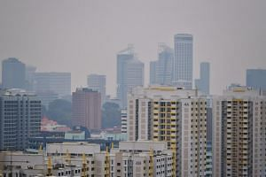 The haze as seen from Tiong Bahru at 12:40pm on Sept 15, 2019.