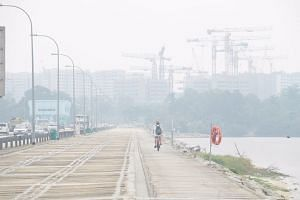 A photo taken at Lower Seletar Reservoir on Sept 16, 2019, shows haze over the area.