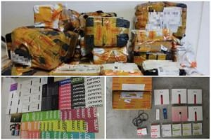 Some of the illegal goods were seized after ICA officers detected a batch of 31 parcels containing 27 sets of e-vaporisers and 400 pieces of related accessories at the Changi Airfreight Centre.
