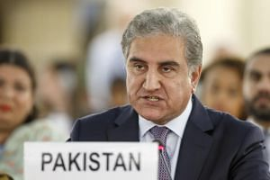 Pakistan's Foreign Minister Shah Mehmood Qureshi makes a statement at the United Nations in Geneva, on Sept 10, 2019.
