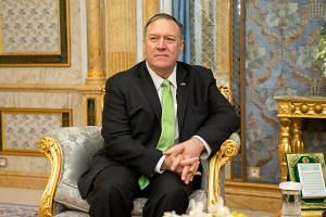 US Secretary of State Mike Pompeo at a meeting with Saudi Crown Prince and Deputy Prime Minister and Minister of Defence Mohammed bin Salman in Jeddah on Sept 18, 2019.