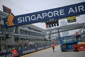 Preparations at the F1 Pit Building on Sept 18, ahead of the Formula One Singapore Airlines Singapore Grand Prix.
