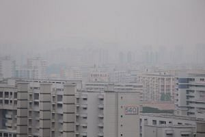 A view of the haze seen over Boon Lay at around noon on Sept 23, 2019.