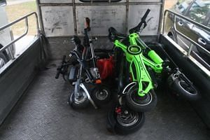 Non-compliant e-scooters loaded in a lorry on Sept 23, 2019.