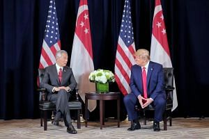 Singapore Prime Minister Lee Hsien Loong and US President Donald Trump attend a bilateral meeting at the Intercontinental New York Barclay in New York on Sept 23, 2019.