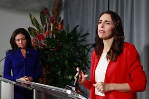 New Zealand's PM Jacinda Ardern (right) and Facebook COO Sheryl Sandberg and current chair of the Global Internet Forum to Counter Terrorism (GIFCT), give a news conference on the sidelines during the 2019 United Nations Climate Action Summit, on Sep
