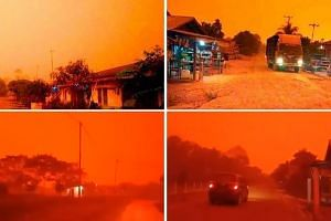 The glowing-red skies in the Indonesian province were caused by smog that had risen to the upper levels of the atmosphere. PHOTOS: THE STAR/ASIA NEWS NETWORK, WEIN ARIFIN/TWITTER, ZUNI SHOFI YATUN NISA/TWITTER