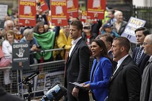 Anti-Brexit campaigner Gina Miller speaking outside the Supreme Court in London yesterday after it made its decision on the legality of Prime Minister Boris Johnson's five-week suspension of Parliament. She has called the ruling