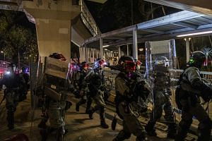 Riot police officers in Yuen Long, Hong Kong on Sept 21, 2019.