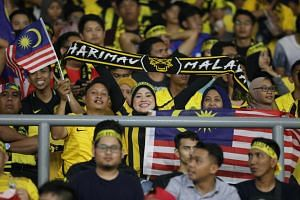Malaysian football fans at the World Cup qualifier round match against United Arab Emirates in Kuala Lumpur on Sept 10, 2019.