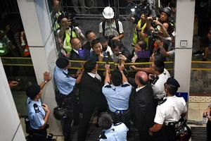 Protesters at the entrance of the Queen Elizabeth Stadium in Hong Kong, where Hong Kong Chief Executive Carrie Lam was holding a public dialogue on Sept 26, 2019.